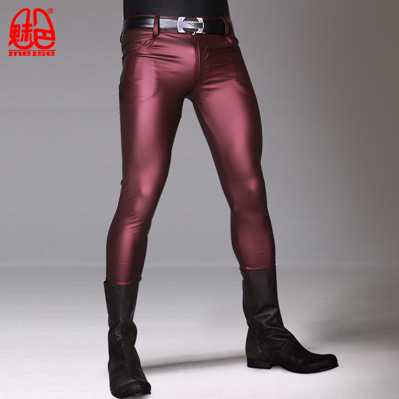 Stylish Male Khaki Cool Bright Thin Matte Light Imitation Leather Pants Men Stretch Tight Leg Pants Casual Leather Pants Stage