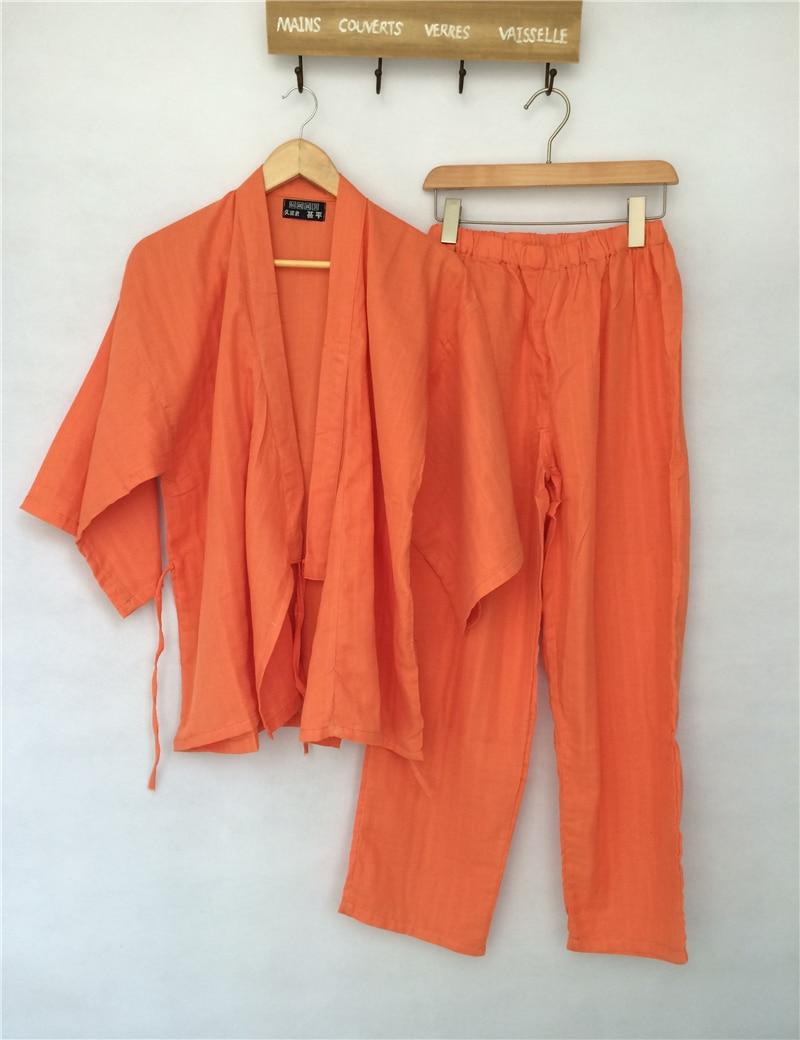Japanische Kimono Frauen Traditionelle japanische Yukata Robe und Hose Double Layered Cotton Gaze Pyjama Set