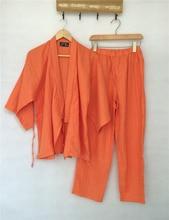 Japanese Kimono Women Traditional Japanese Yukata Robe and Pants Double Layered Cotton Gauze Pajamas Set