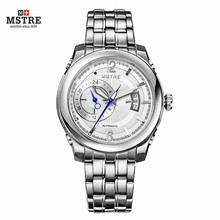 Brand Deluxe Men's Business Watch Auto Mechanical Self-wind Analog Wristwatches Sapphire Crystal Genuine Leather&316L Steel Band