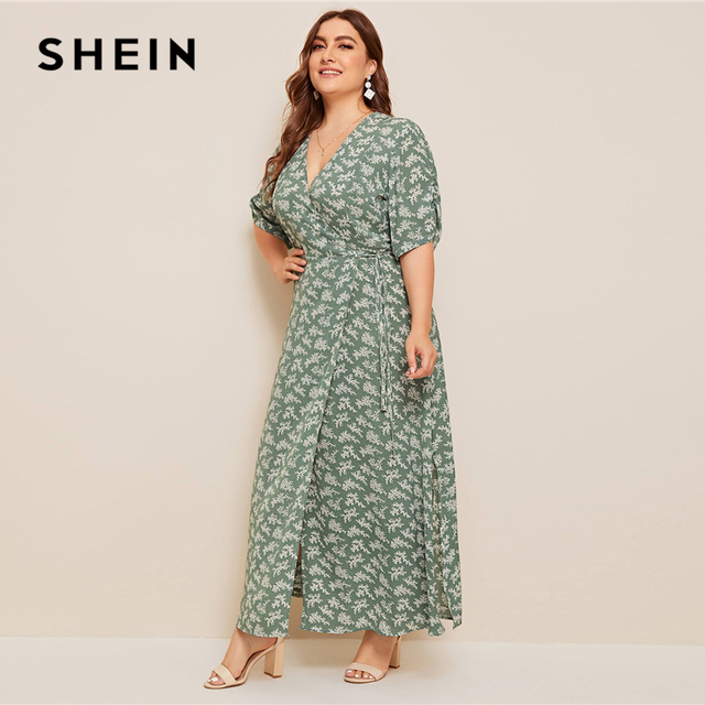 SHEIN Plus Size Ditsy Floral Knot Side Wrap Maxi Dress Women Summer Autumn Half Sleeve V Neck Fit and Flare Boho Empire Dresses 1