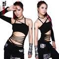 Nova moda hip hop top dança Jazz feminino desgaste desempenho traje roupas palco de um ombro Sexy recorte escavar t - camisa