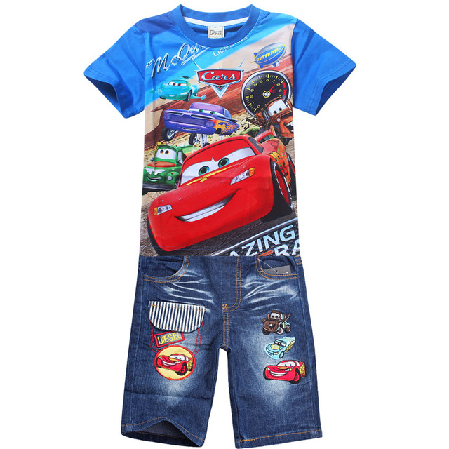 5a8b65eea5c 3 10 year boys t shirt+jeans pants car suits Cars boys Cartoon children ...