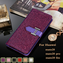mate20 for huawei pro case luxury Gold sequins stander wallet leather huawai lite buckle card slot Sparkling