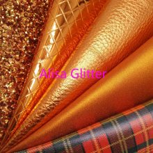 1PCS A4 SIZE 21X29cm Alisa Glitter Orange Glitter Fabric, Tartan Faux Leather Fabric, Plaids Synthetic Leather for Bow DIY C10C(China)