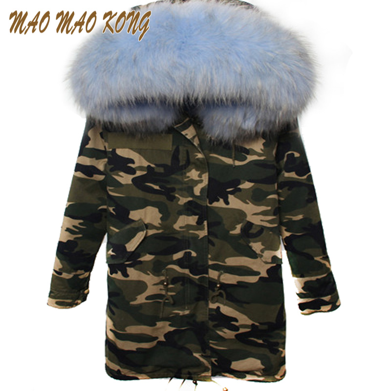 2017 New army green winter jacket women outwear  plus size raccoon Dog thick parkas natural real fur collar coat hooded pellicci