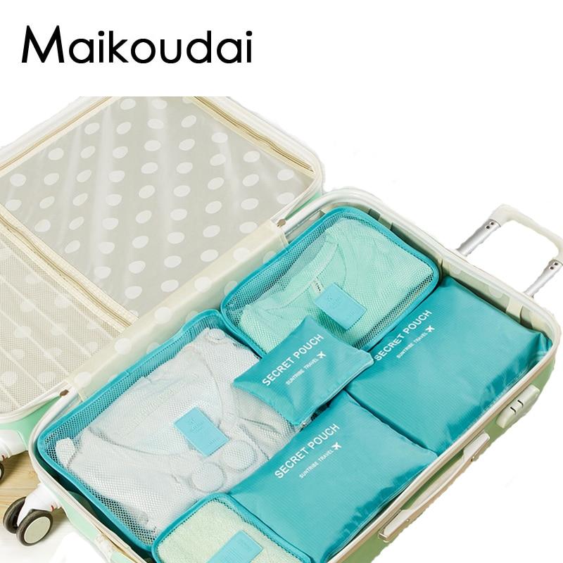 Maikoudai 6pcs/set Travel Bags Shoes Clothes Toiletry Luggage Pouch Kits Wholesale Bulk Lots Accessories