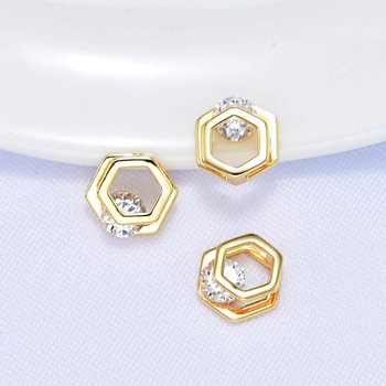 6PCS 10x10MM 12x12MM 24K Gold Color Plated Brass Double Square with Zircon Beads High Quality DIY Jewelry Making Findings недорого