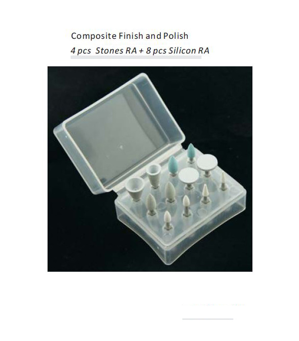12PCS Dental Polishing RA Shank Low Speed stones Silicone Rubber Prophylaxis Polisher For Composite Finish and Polish kit