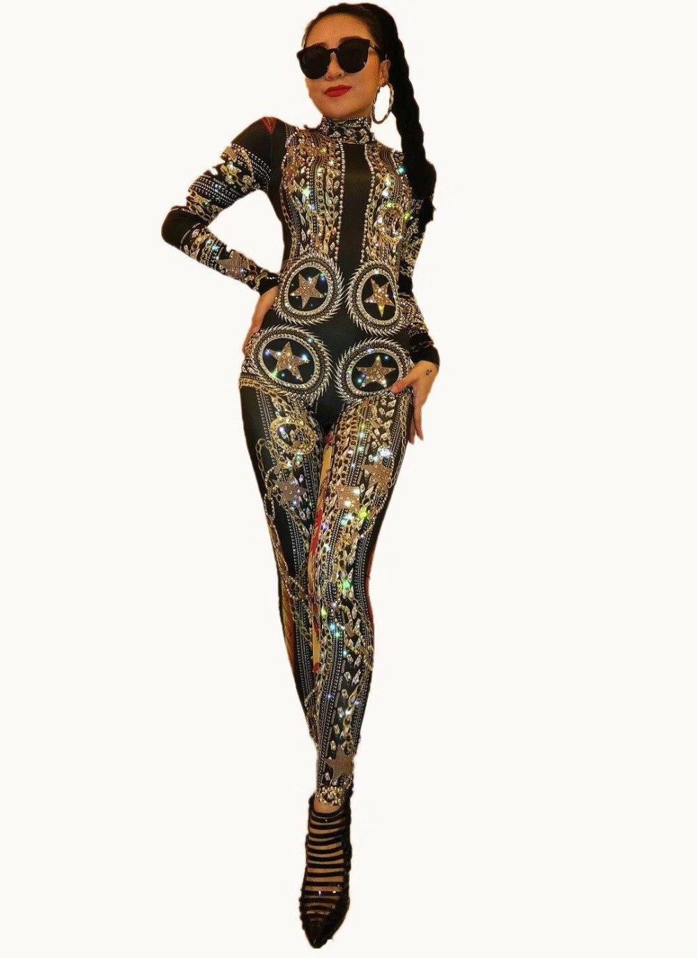 Performance Costume Outfit Scène Femmes Danseur Barboteuses Noir De Or Chanteur Spandex Salopette Strass Imprimé Sexy Stretch Body UPcz6qgvF