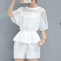 New Summer Wear Women S Clothing Han Edition Temperament Chiffon Stitching Wide Legged Pants Two Piece