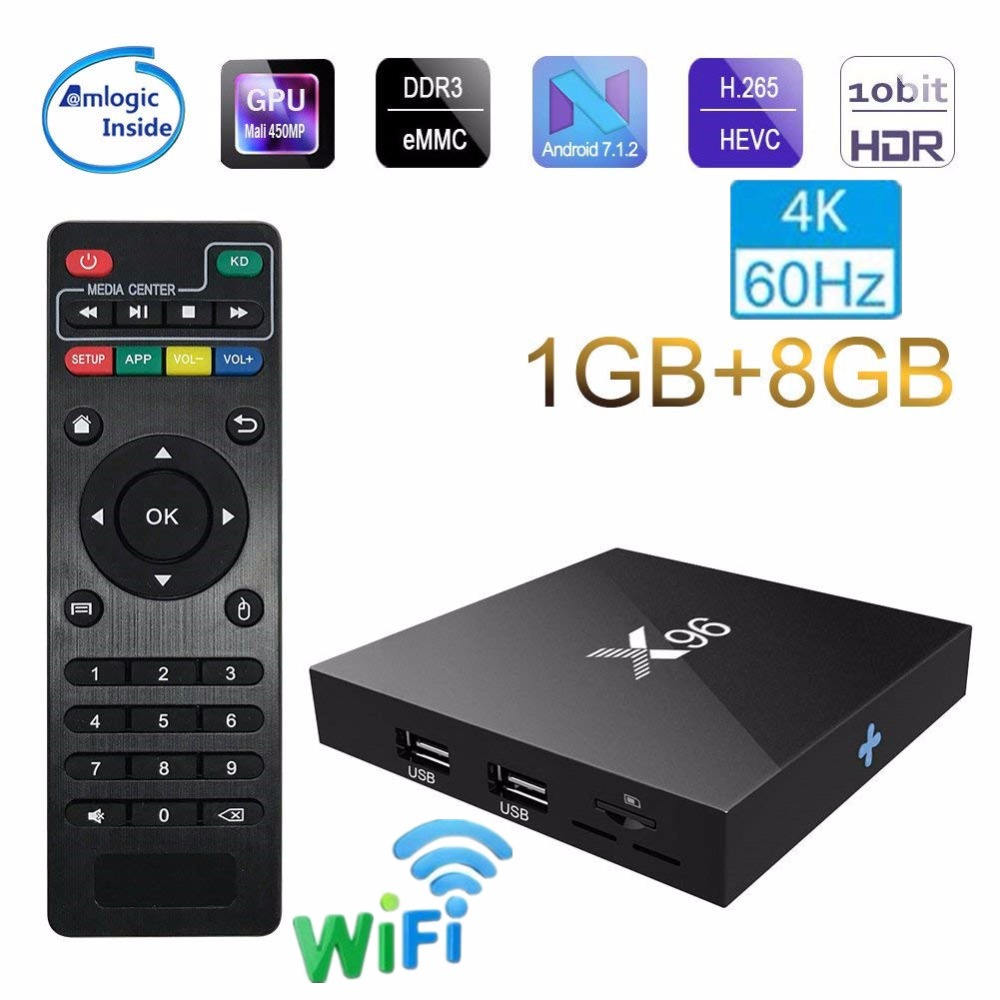 X96 X96W Android 7,1 TV caja WiFi S905W android smart tv 2 GB ram Quad Core Set-top caja tvbox 4 K Media Player X 96 set-top Box