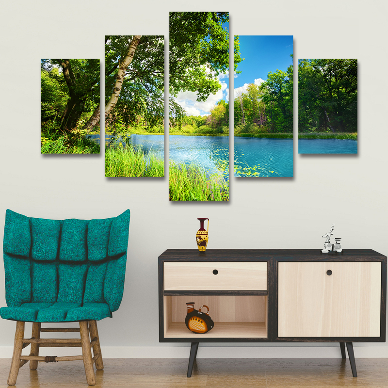 Modern Green Landcsape Canvas Print Rustic Lake Trees Painting Pictures Cuadros Wall Art Home Decor For