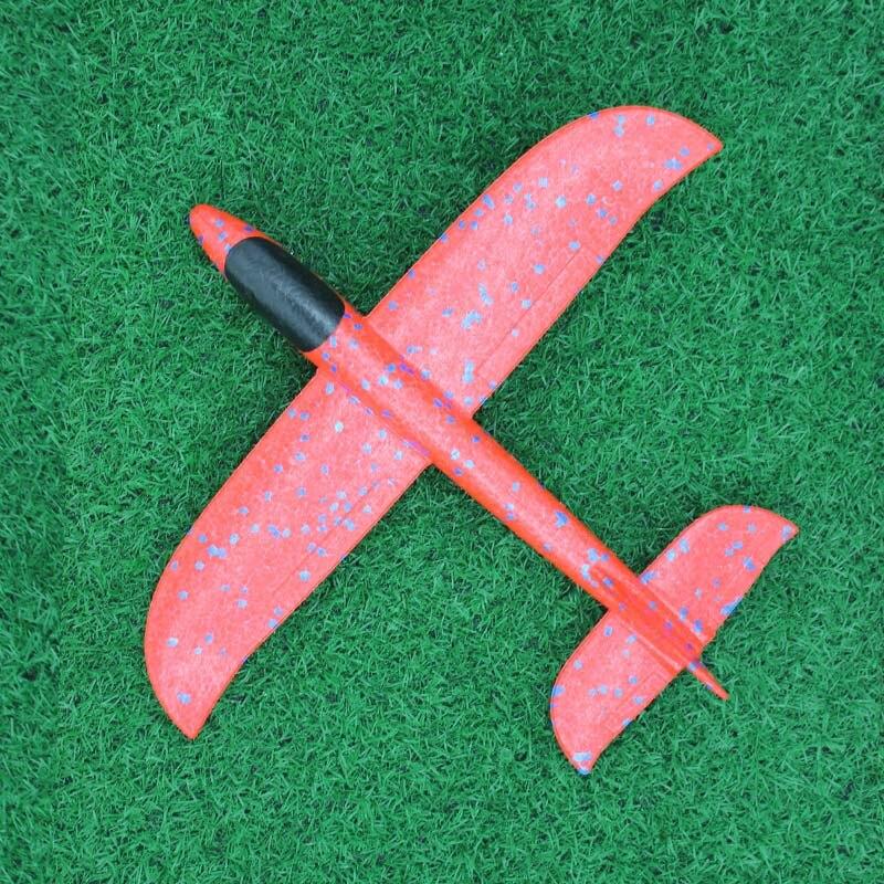 35 см детские игрушки «сделай сам» ручной бросок летающий самолет s пена модель аэроплана светится в темноте Летающий Plane Самолет игрушки для детей - Цвет: 35cm Not Lamp Red