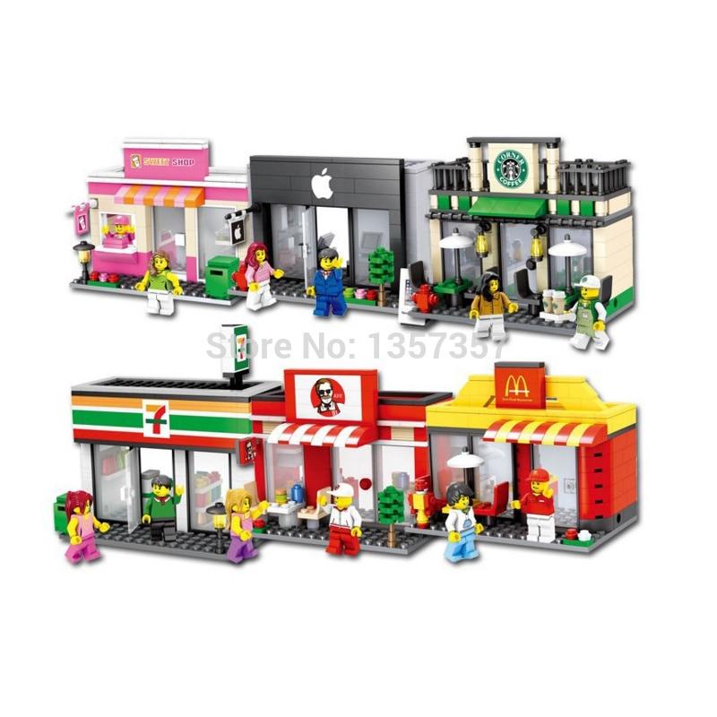 Einzigen Verkauf Mini Straßenszene Ladengeschäft Shop Architektur Baustein-satz-modell Spielzeug