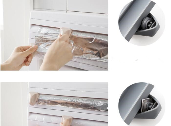 1PC Multi functional 6 in 1 Aluminum Film Paper Towel Holder Wrap Cutter Spice Jar Holder Kitchen Storage Shelf Rack OK 0728 in Storage Holders Racks from Home Garden