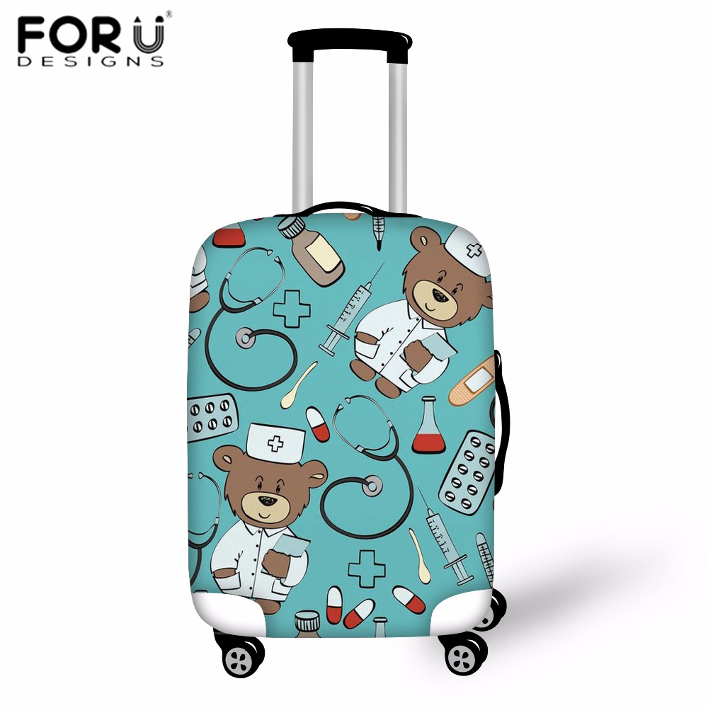 Luggage & Bags Travel Accessories Just Forudesigns Travel Accessories Cartoon Bear Doctor Print Luggage Cover For Women Fashion Trolley Case Cover Suitcase Dust Cover Elegant Appearance