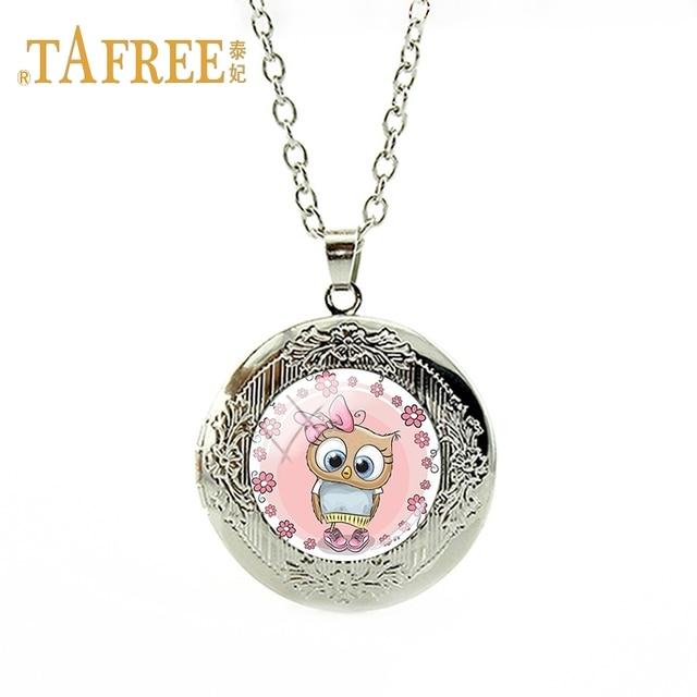 TAFREE מתנת מזכרת יום של ילדי שרשרת קסם תליון תליון אופנה תכשיטי שרשרת ינשוף קישוט יפה ורוד FQ133