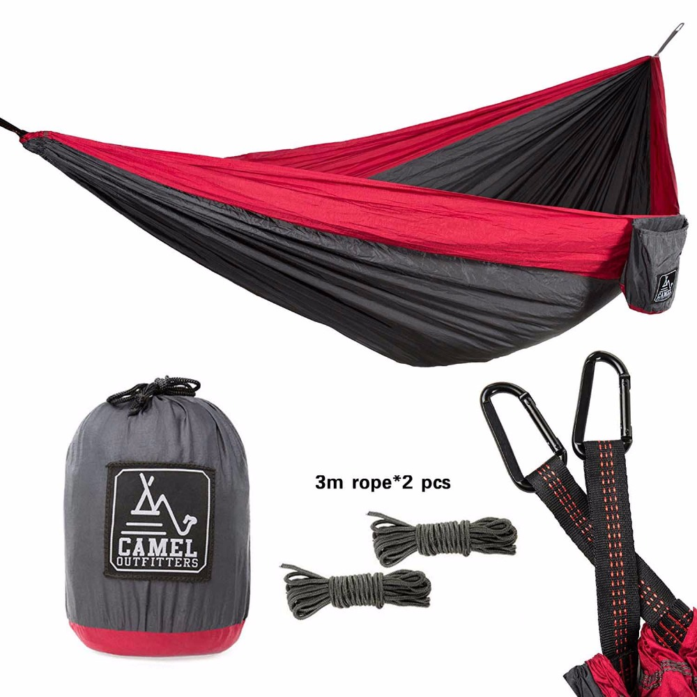 Lightweight Portable with Max 1000 lbs Capacity XL Double Nylon Parachute Camping Hammock Backpacking Hiking Outdoors or Travel 2 people portable parachute hammock outdoor survival camping hammocks garden leisure travel double hanging swing 2 6m 1 4m 3m 2m