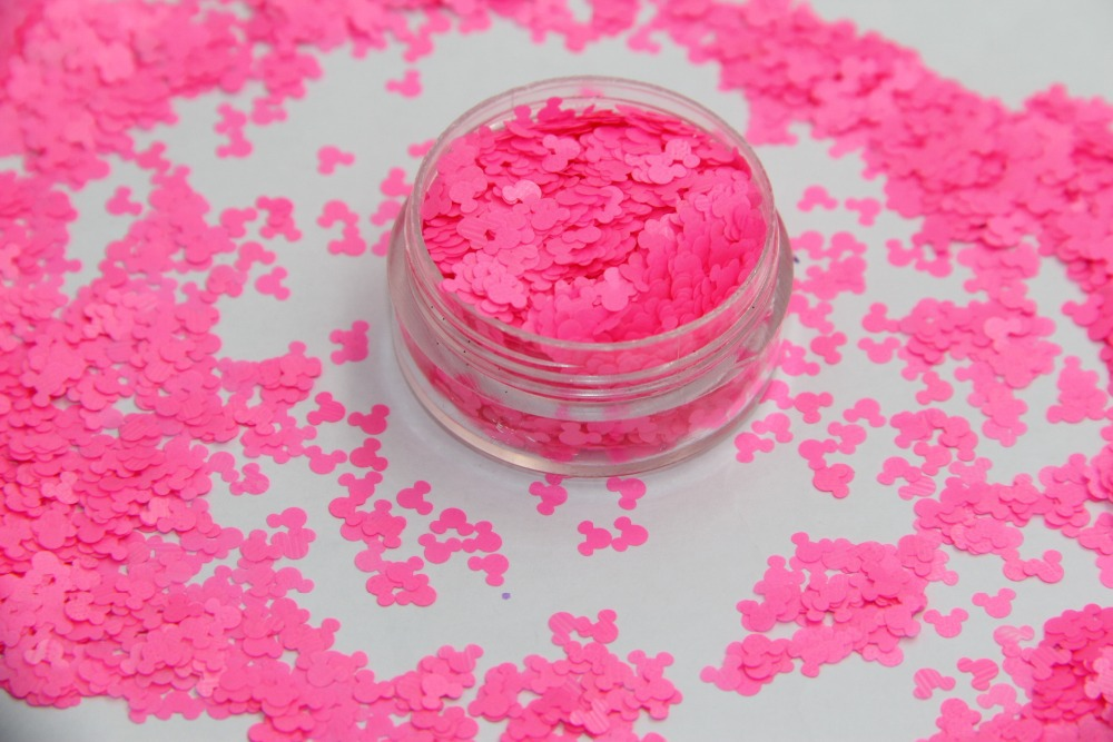 TCF509 Solvent resistant Neon Pink Color Mickey Mouse shape Glitter ...