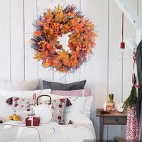 55cm Autumn Maple Leaf Berry Wreath Thanksgiving Halloween Door Home Decor door wreath