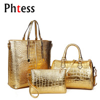 European And American Fashion Crocodile Pattern Retro Set Of Three Composite Bag Casual Women Tote And