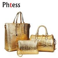 European And American Fashion Crocodile Pattern Retro Set Of Three Composite Bag Casual Women Tote And