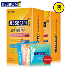 Jissbon Ultra Thin Lubricant Condoms Selection Pack in Rubber Latex and Parfum for Sex Game Play Man Penis Ring Sleeve Extender