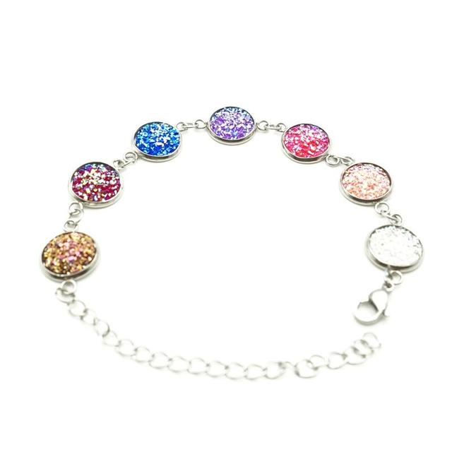 New 7 Colours Resin Drusy Charm Bracelets Colorful Druzy Bracelet 316l Stainless Steel Chain Handmade Fine