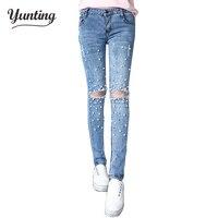 Women 2018 Women Pearl Beaded Jeans Retro Vintage Hole Jeans Female Skinny Denim Pants Ripped Trousers