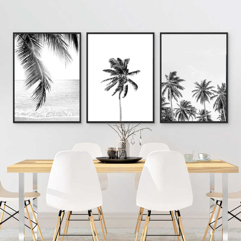 Tropical Palm Leaf Art Canvas Posters Prints , Tropical Plam Tree Photography Painting Black White Picture Home Wall Art Decor