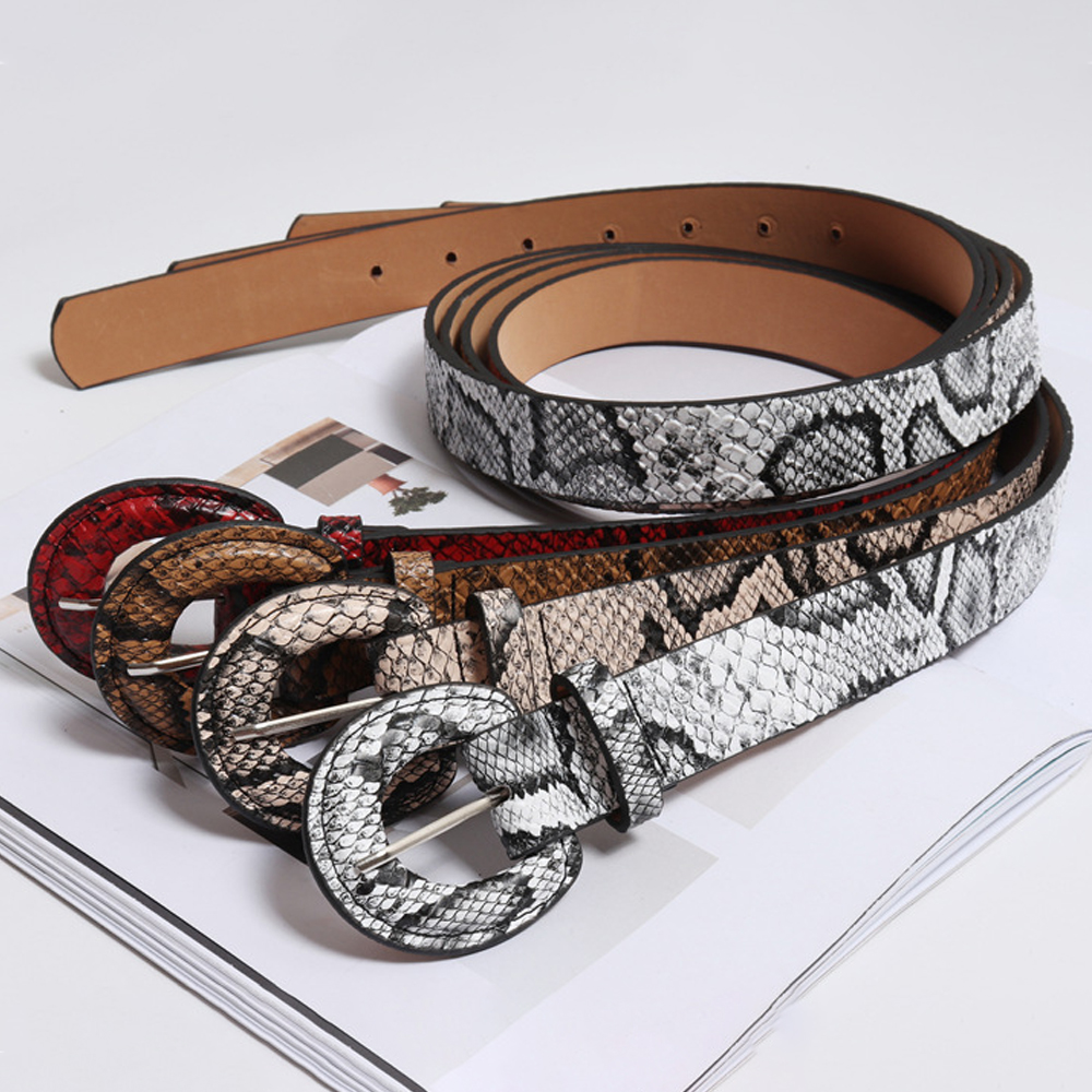 Winfox Fashion Red White 2.7cm Wide Snake Skin Belts For Women Female PU Leather Round Pin Buckle Crocodile Jeans Dress Belts