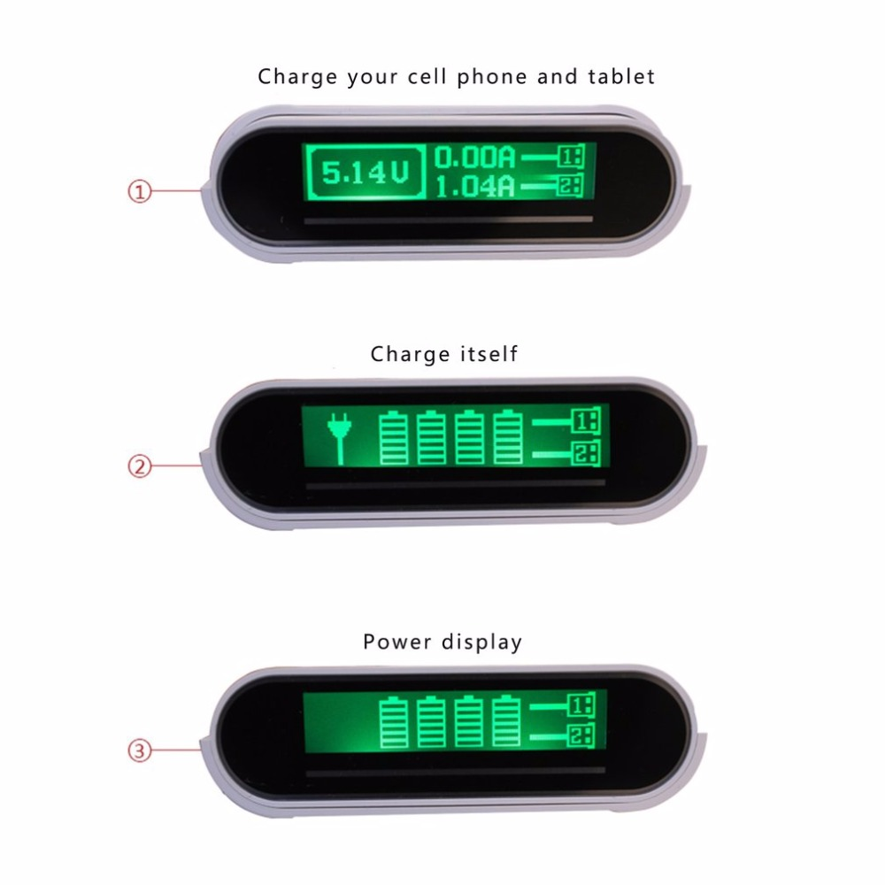 TOMO Intelligent Portable 18650 Li-ion Battery DIY Mobile Power Bank Smart Charger Dual USB LCD Screen