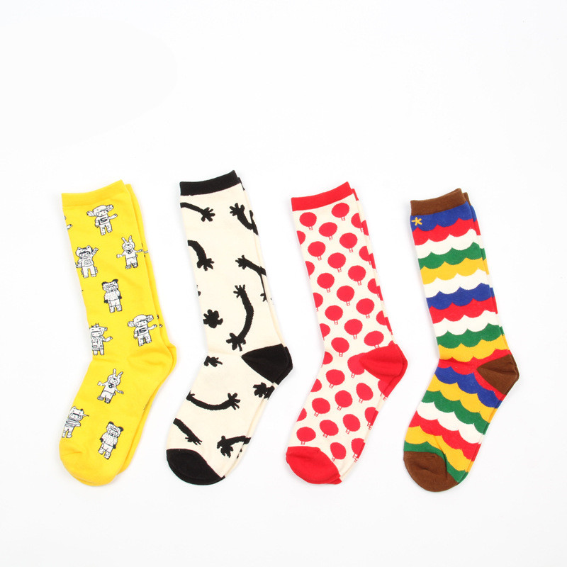4 pair/lot British style Wave gradient Man Colorful Funny Printing Socks Breathable Spring Autumn Socks Happy Socks A030