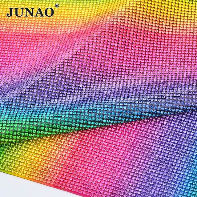 JUNAO 24 40cm Mix Color Hotfix Glass Rhinestone Mesh Fabric Sheet Crystal Beads  Applique Trim Strass Banding For DIY Dress Jewel 7344d681fa37