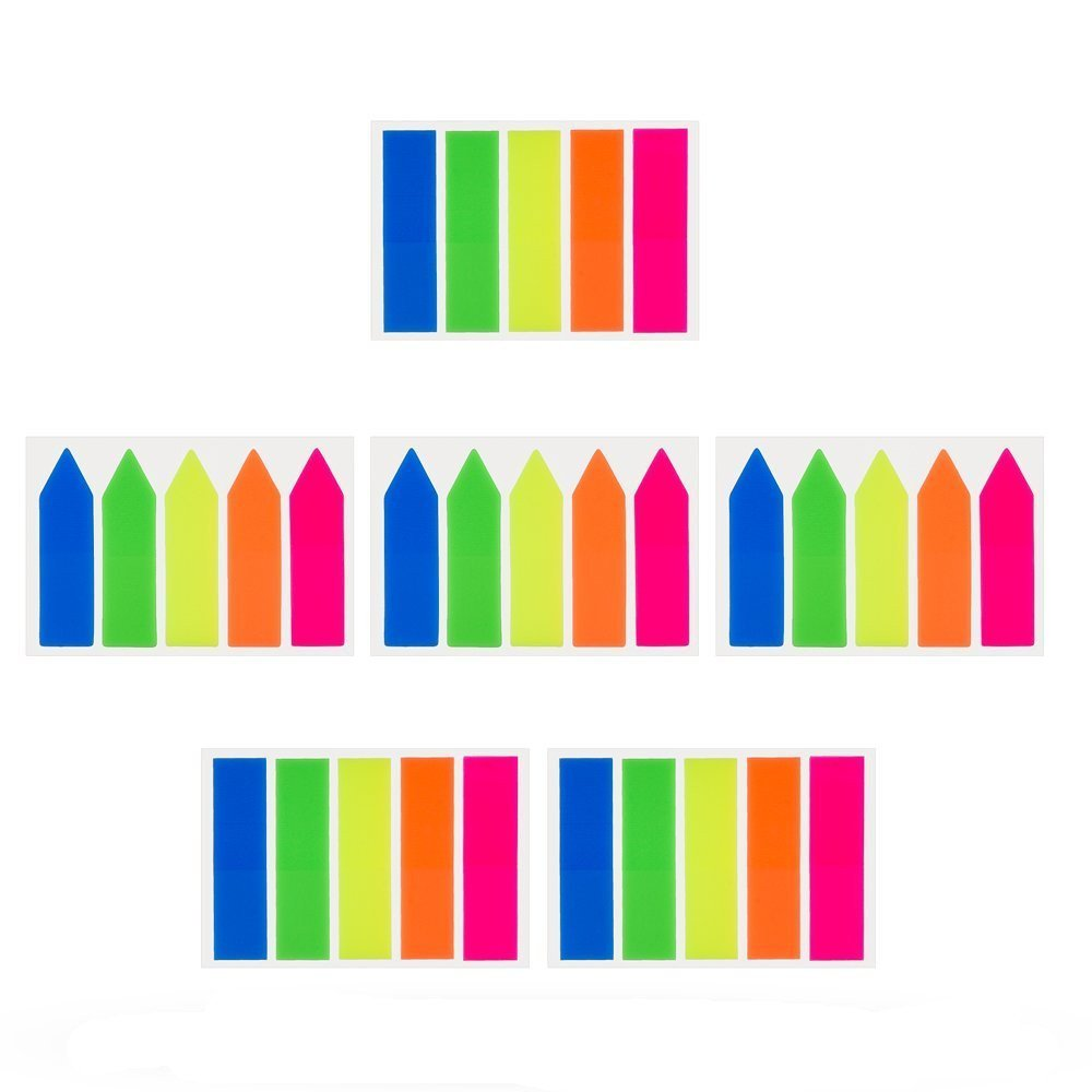 6 Sets Neon Page Markers Colored Index Tabs Flags Sticky