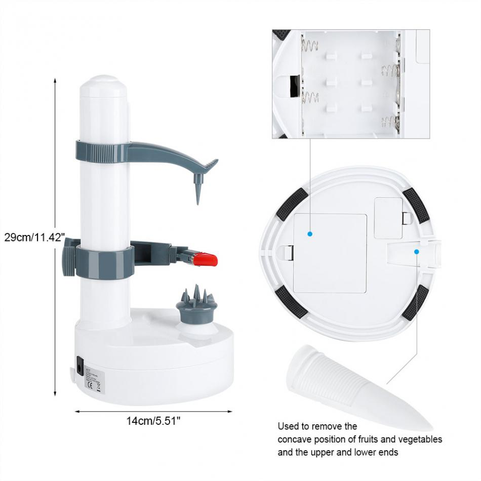 Electric Fruit Peeler 110v Automatic Pear Lemon Battery Diagram Vegetable Plug In The Power Or Put Four Section Aa Fix Vegetables Press Red Button And Machine Will Start Peeling Automatically