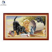 Joy Sunday Three dogs 4 Counted DIY Hand Cross Stitch 11CT 14CT DMC Printed Cloth for Embroidery set Home Decor Needlework
