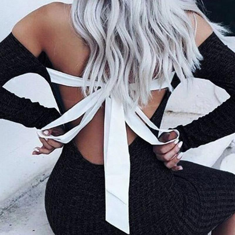 Women Bodycon Long Sleeve Dress Off Shoulder Halter Dresses Backless Bow Tie Dress Slim Sweater Knitted Dresses Party Vestidos