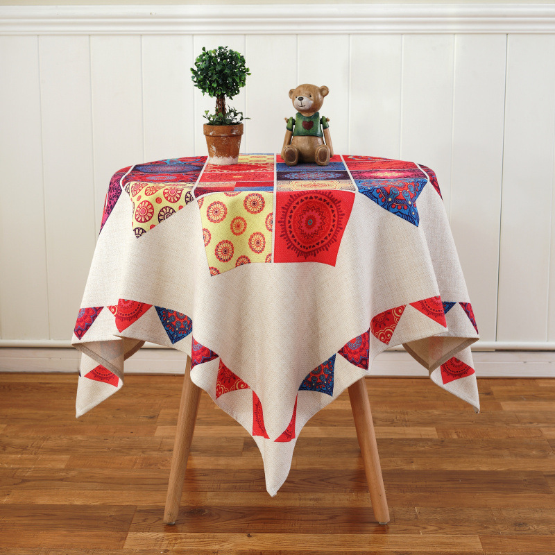 Cotton Linen Round Tablecloth Nordic Pastoral Printed Table Cover Dustproof Table Cloth Home Party Wedding Decoration
