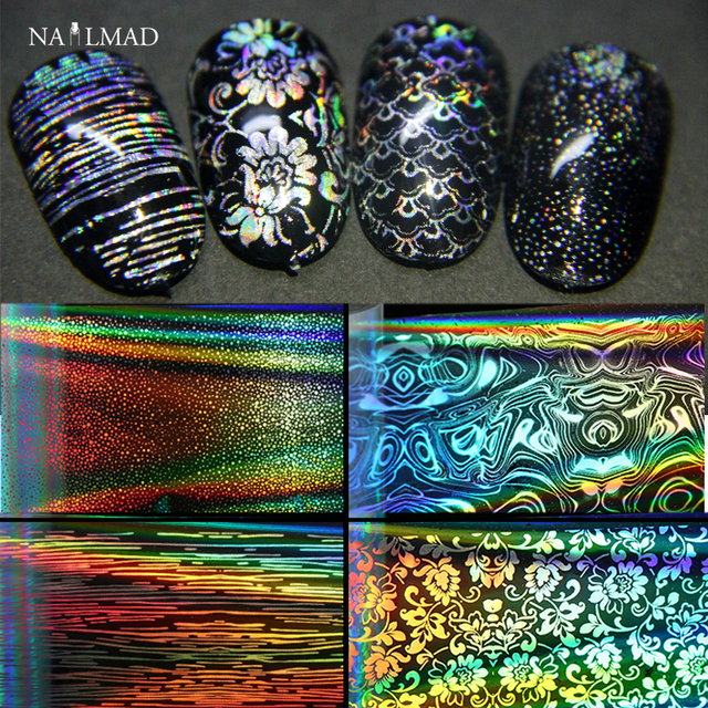 US $1 99 |16 sheets 4*20cm Holographic Foil Paper Fish Scale Transfer  Sticker Starry Sky Nail Foils Paper Laser Transfer Foils-in Stickers &  Decals