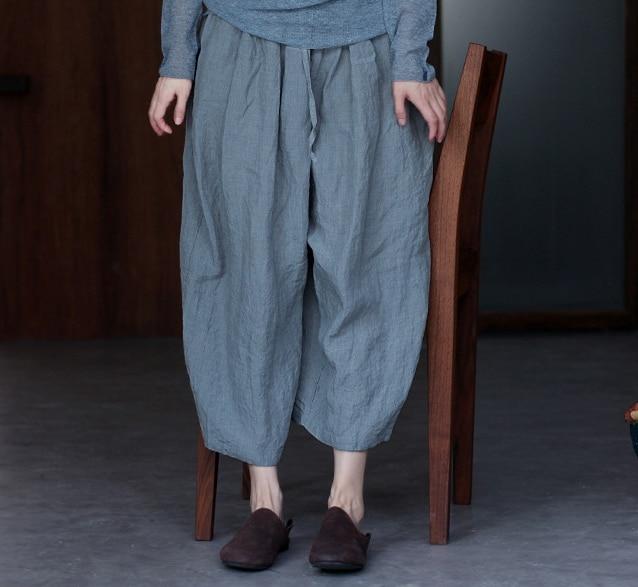 Tempo Cantieri Grandi Ylo17395 2018 Larghi Per Il Allentato Di Green Pantaloni Del Gray 3 Design Lino Originale Piedino Libero ZRqAnrwzR