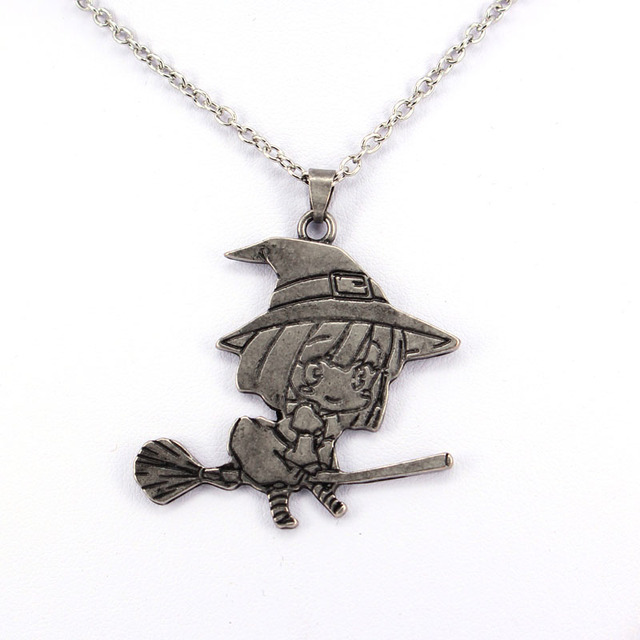 hzew cute little witch and broom pendant necklace pretty girl