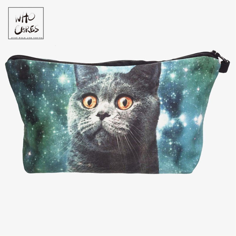 Who Cares Fashion printing funny cat Makeup Bags Cosmetic Organizer Bag Pouchs For Travel