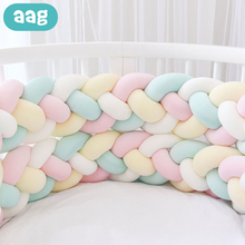 AAG 2.2M 4-strand Baby Bed Bumper Handmade Knotted Braid Weaving Plush Crib Protector Pacification Pure Knot *