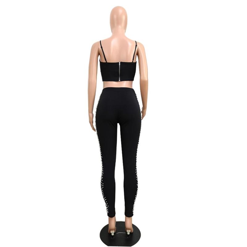 Women dresses strap hang Deep V Neck Sleeveless Splice zipper sexy Polyester Knitting Two-piece pants Set