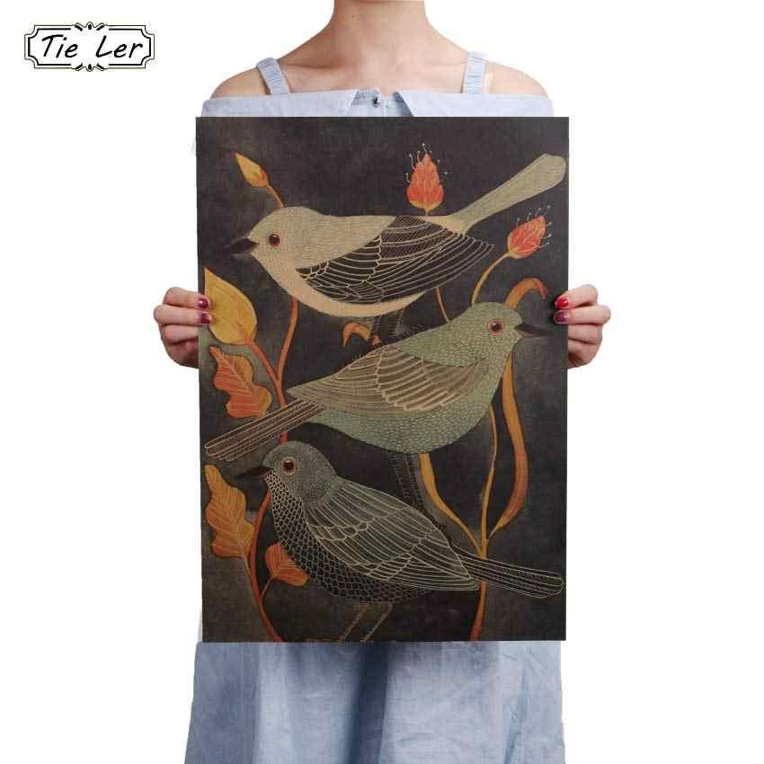 Nightingale Beauty Bird Vintage Poster Retro pintura decorativa Papel Kraft para pared de salón etiqueta 51.5X36cm