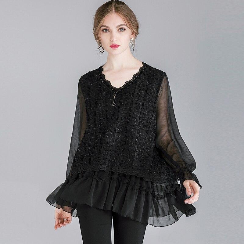 Mousseline de soie Blouses noires chemises de grande taille printemps à manches longues 2019 femmes travail décontracté mode vêtements volants chemise femme 2XL