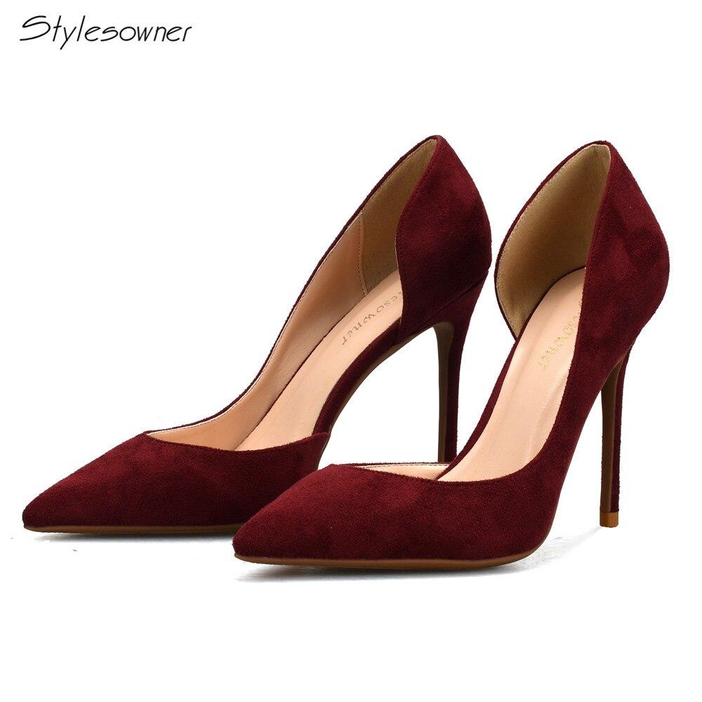 Stylesproprio nouveau printemps mode haute qualité parti talons hauts chaussures rétro bout pointu femmes pompes OL vin rouge talons hauts chaussures