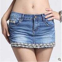 Fashion Low Rise Crochet Lace Jeans Feminina Shorts In Plus Size Denim Shorts Skirt Zipper Fly